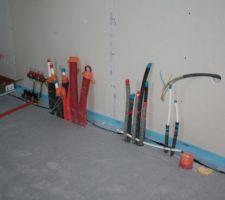 Arrivée d'eau PAC et ECS thermo dans buanderie