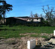 terrain de 900m² avant construction : le piquet bois rouge est l'angle du terrain