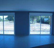La peinture grise a été mise sur les murs avec les baies vitrées et les autres sont en blanc