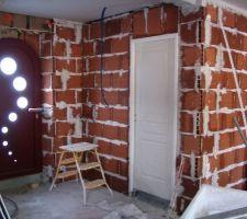 Porte d'entrée et porte des WC du REZ de chausser.
