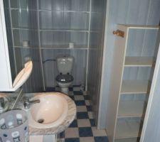 les wc dans la salle d eau comporte des rangements aussi