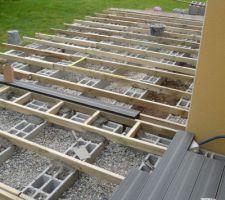 Pose des lambourdes sur les parpaings, mise à niveau et mortier en cours