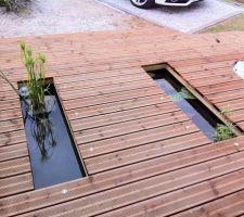Le bassin complètement intégré au décor une fois la terrasse montée