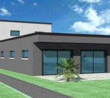 facade arriere maison sur terrasse plein sud