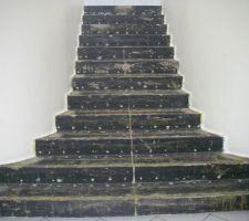 dans un autre style et d autres proportions aussi cet escalier en beton est a habiller de bois et de materiau mineral en contremarche marche inferieure mesure 4 m