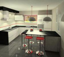 La cuisine: meubles stratifies blanc brillant et plan en granit noir - Schmidt