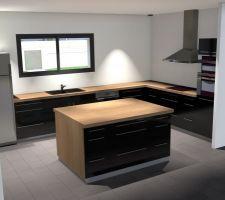 Simulation d'une cuisine noire, avec un plan de travail en chêne.