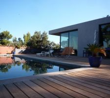 pas de revetement pour la piscine juste le ciment ponce avec son gris la couleur de l eau est sublime