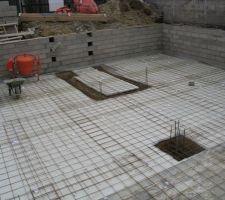 Préparation  pour recevoir le beton de la dalle sous sol