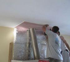 Mise en place du placoflam au plafond