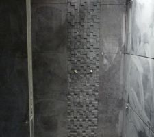 Douche carrelage Réaction Brick Black Marca COrona