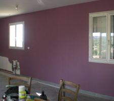 Mur cuisine (au fond) et salle à manger. Couleur : Figue chez Dulux Valentine.