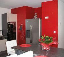 La cuisine est en 2 teinte grise et blanche avec un plan de travail gris polaris. Un maur de couleur rouge côté frigidaire américain. les autres murs sont blancs.