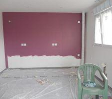 """Le mur principal de la cuisine, couleur """"mûre sauvage"""""""
