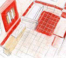 Projet déco de la SDB enfants. tons rouges pour SDB tonique. permet de visualiser et le metrage pour la cde par le constructeur. reste à choisir les carreaux. dessin fait par mde
