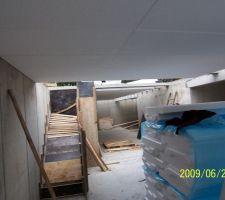 Vue dessous dalle et coffrage escalier