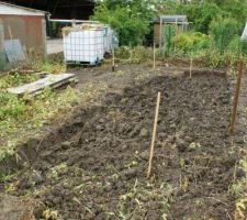 Début des travaux de terrassement pour l'abri de jardin