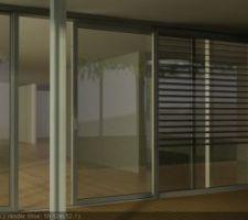 vue 3d de la terrasse avec renovation des baies vitrees