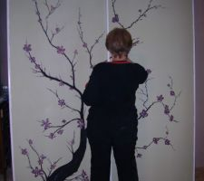 Fresque : cerisier japonais par belle-maman sur portes de placard coulissantes