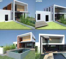 AVANT - APRES : Vue générale de la maison, façades sud et ouest (et un peu est)