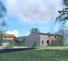 Vue en 3D du projet actuel sur l'arrière de la maison