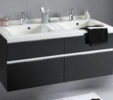 choix meuble sdb parentale modele absolu 2 chez leroy merlin mais nous avons prefere les vasques en verre blanc et tiroirs en noir laque brillant