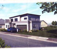 Implantation 3D de la maison sur notre terrain avec nos vrais voisins deja installé
