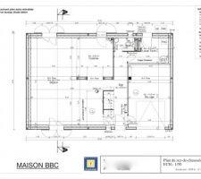 Voilà le plan du RDC tel que nous l'avons conçu. Une grande pièce de vie, un garage intégré (qui sera transformé en bureau si on arrive à racheter le dernier terrain ^^), une buanderie/salle d'eau (pour éviter, quand Monsieur rentre crotté du VTT, qu'il n'en mette pas partout au passage !)