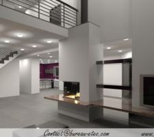 Vue intérieure - avec cheminée MIROY (foyer Ruegg Pi Classic)