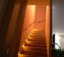 Escalier avec rampe posée