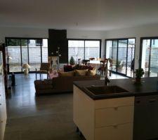 Espace salon ,salle à manger avec meubles