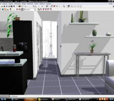 Représentation 3D de notre futur salon / couloir / cuisine