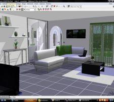 Représentation 3D de notre futur salon / entrée