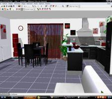 Représentation 3D de notre futur cuisine / salle à manger