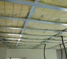 Plafond de la mezzanine avec le montage des rails (dédoublement) terminé