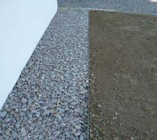 Aménagements extérieurs: Pose d'arrêts pelouse entre futur gazon et bordure en cailloux de granit