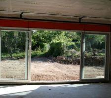 pose de la baie vitree de 4m80