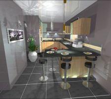 La cuisine signée, facade Chene Sonoma de chez AVIVA, electro Smeg.