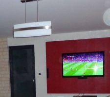 TV installée le 30/07 sur notre mur rouge croco