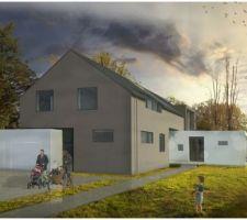 la maison sous un ciel gris dans son vrai environnement