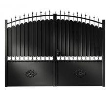 Dimensions du portail : L. 300 cm x H. 185/210 cm. Distance entre les poteaux : 307 cm.