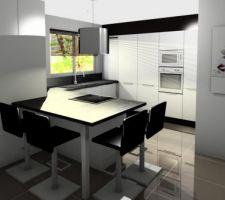 """Voilà comment devrait être la cuisine avec poignées intégrées et une baie vitrée à côté du """"retour ilôt"""""""