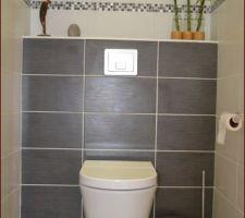 les toilettes du bas le meuble lave mains est en cours d acheminement nous l avons choisi gris pour rappeler la faience du bati