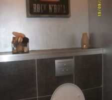 WC fini ! La couleur du mur est du gris métal