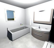 Essai implantation salle de bain, meuble image leroy merlin mais en double vasque noir