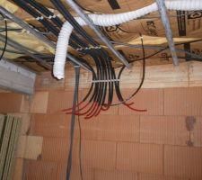 Les tuyaux d'alimentation/retour pour les radiateurs à circulation d'eau chaude à l'étage (avec la PAC géothermique).