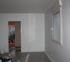 le salon encore en chantier manque les finition menuiserie porte avec carreaux pour eclairer l entree et finition peinture brillante blanc sur les plainte et menuiserie porte