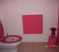 Couleur rose framboise e blanc , le mur est en crepis