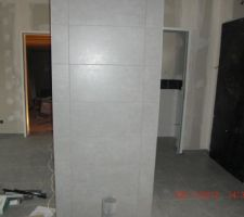 Mur de séparation du séjour - cuisine - entrée où sera installé le poêle. Faïence 30 x 60 identique au sol 45 x 45