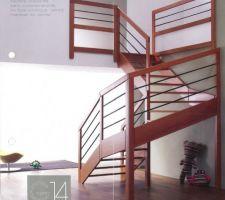 Escalier ( livré couleur bois exotique)